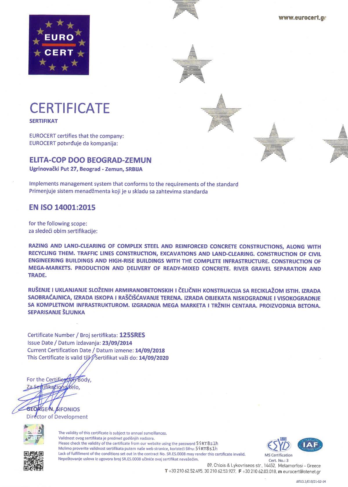 Elita Cop ISO 14001:2015