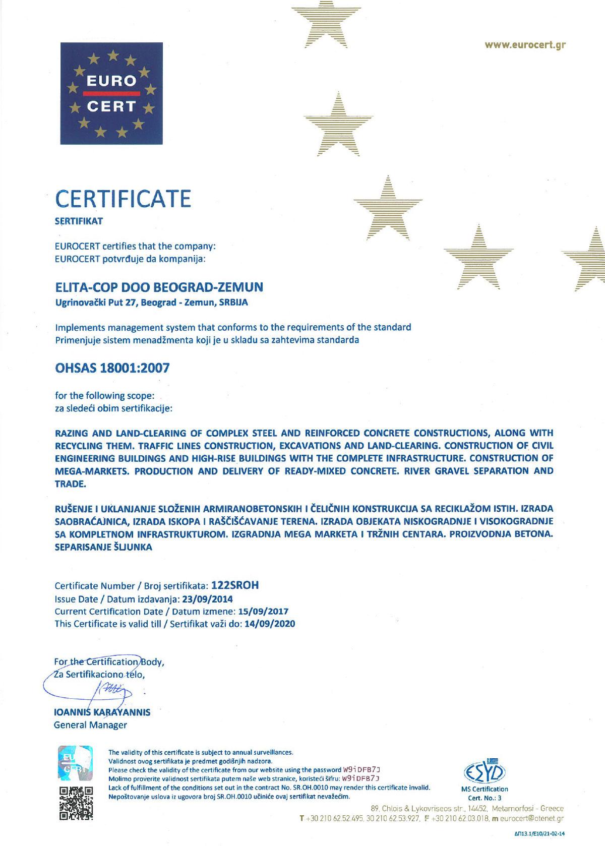 Elita Cop ISO 18001:2007