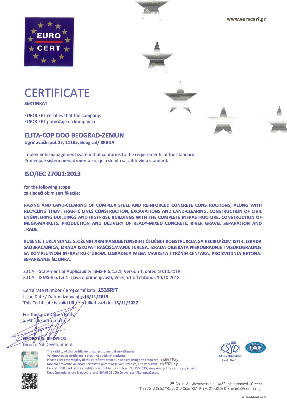 Elita Cop ISO 27001:2013