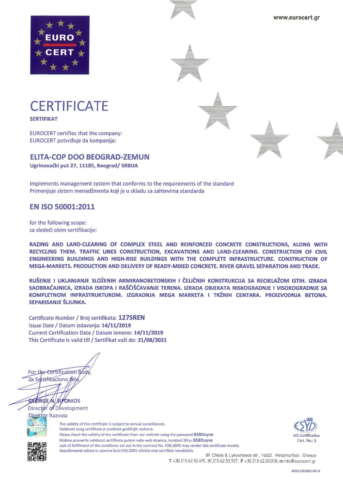 Elita Cop ISO 50001:2011